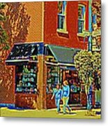 Le Fouvrac Foods Chocolates And Coffee Shop Corner Garnier And Laurier Montreal Street Scene Metal Print
