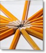 Lead Pencils Isolated On White Metal Print