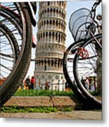 Leaning Bicycles Of Pisa Metal Print