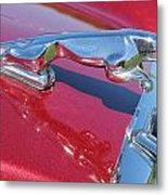Leaper Hood Ornament On Red Jaguar Metal Print