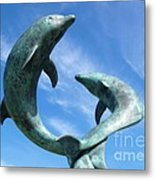 Leaping Dolphins In The Isles Of Scilly Metal Print