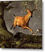 Leaping Stag Metal Print
