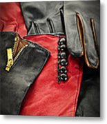 Leather Gloves Metal Print