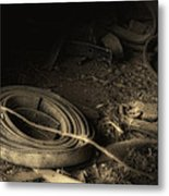Leather Strap Still Life Metal Print by Tom Mc Nemar
