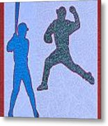 Leather Texture Art Bowler And Pitcher Base Ball Game Sports Competition Metal Print