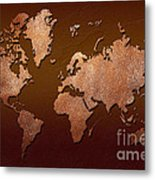 Leather World Map Metal Print