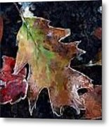 Leaves And Frost Metal Print