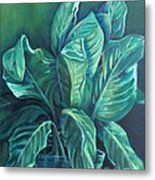 Leaves In A Vase Metal Print