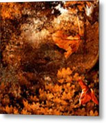Leaves Of Gold Metal Print by Lourry Legarde