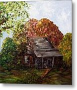 Leaves On The Cabin Roof Metal Print