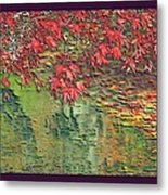 Leaves On The Creek 3 With Small Border 3 Metal Print