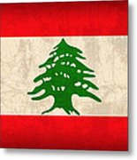 Lebanon Flag Vintage Distressed Finish Metal Print