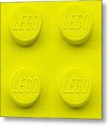 Lego Block Yellow Metal Print