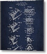 Lego Toy Building Blocks Patent - Navy Blue Metal Print by Aged Pixel