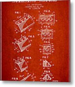 Lego Toy Building Blocks Patent - Red Metal Print