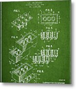 Lego Toy Building Brick Patent - Green Metal Print by Aged Pixel