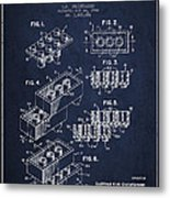 Lego Toy Building Brick Patent - Navy Blue Metal Print by Aged Pixel