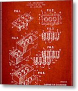 Lego Toy Building Brick Patent - Red Metal Print