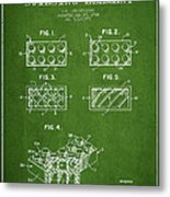 Lego Toy Building Element Patent - Green Metal Print