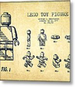 Lego Toy Figure Patent Drawing From 1979 - Vintage Metal Print by Aged Pixel