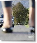 Legs And Car Metal Print