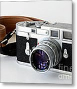 Leica M3 With Leather Strap Metal Print