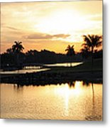 Lely Sunrise Over The Flamingo Metal Print
