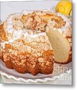 Lemon Bundtcake With Wedge Cut Out Metal Print