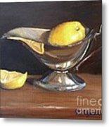 Lemon In Saucer Metal Print