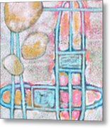Lemon Rocks Paperclips And Water Trails Metal Print