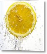 Lemon Splash Metal Print