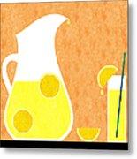 Lemonade And Glass Orange Metal Print