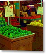 Lemons And Limes Farmers Market Food Stalls Market Vendors Vegetable Food Art Carole Spandau Metal Print