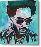 Lenny Kravitz - Stylised Etching Pop Art Poster Metal Print by Kim Wang