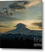 Lenticular Sunset On Mount Hood Metal Print