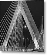 Leonard P. Zakim Bunker Hill Memorial Bridge Bw Metal Print