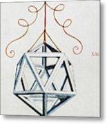 Leonardo Icosahedron Metal Print