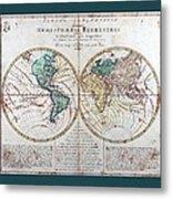 Leonhard Euler World Map 1760 Ad With Matching Grey Aqua Small Border Metal Print
