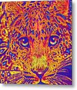 Leopard Eyes Orange Metal Print