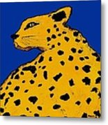 Leopard On Blue Metal Print
