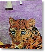 Leopard On The Water Metal Print