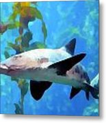 Leopard Shark Watercolor Metal Print