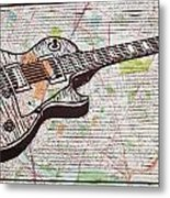 Les Paul On Austin Map Metal Print