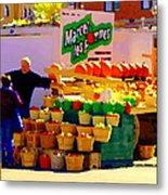 Les Pommes Fruiterie Marcel Vert Pommes Red Apples Jean Talon  Market Scenes Carole Spandau  Metal Print