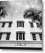 Leslie Hotel South Beach Miami Art Deco Detail - Black And White Metal Print by Ian Monk