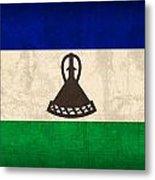 Lesotho Flag Vintage Distressed Finish Metal Print