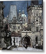 Lesser Town Bridge Towers Metal Print