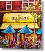 Lester's Deli Montreal Smoked Meat Paris Style French Cafe Paintings Carole Spandau Metal Print