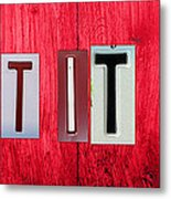 Let It Be License Plate Letter Vintage Phrase Word Artwork On Red Wood Metal Print