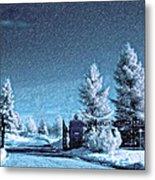 Let It Snow Blue Version Metal Print